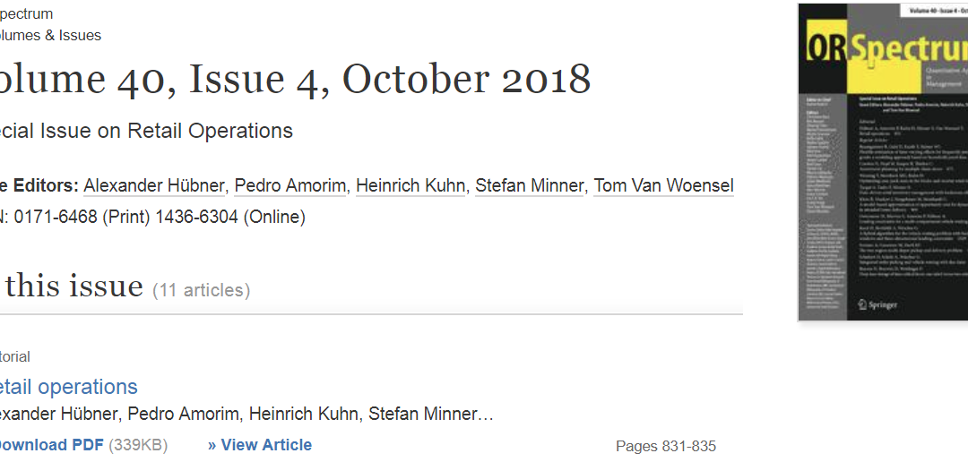 Special Issue on Retail Operations published by Prof. Hübner