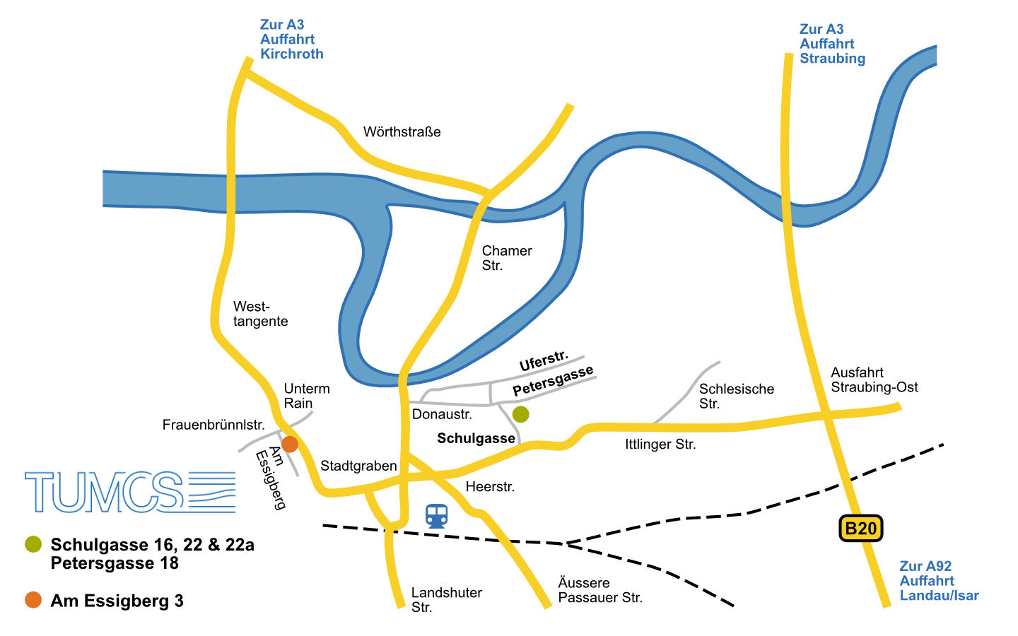 Schematic map of Straubing with the different locations of the TUMCS