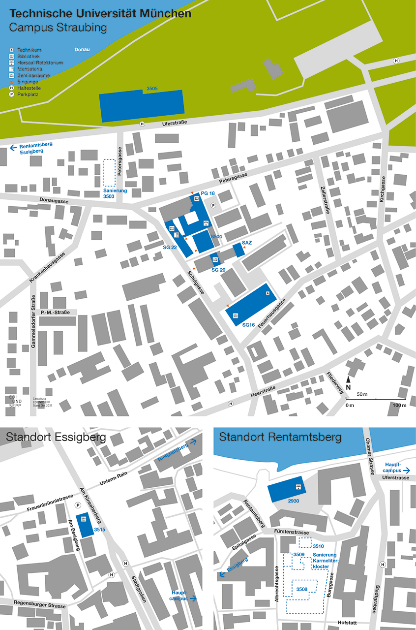 Bulding plans of the Campus's different locations