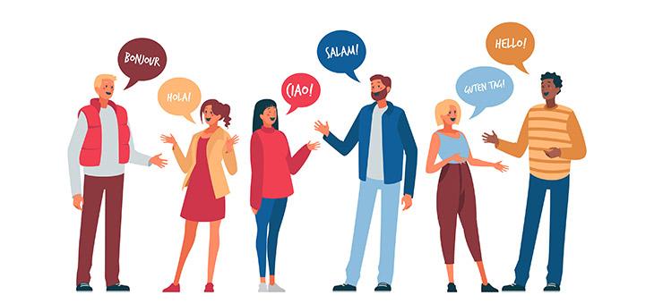 Zeichnung: Personen mit Sprechblasen begrüßen sich in verschiedenen Sprachen