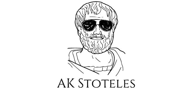 Logo AK Stoteles: Strichzeichnung eines Männerkopfes mit Bart und Sonnenbrille, darunter Schriftzug AK Stoteles
