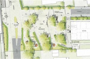 Gezeichneter Aufsichtsplan der neuen Campuspromenade